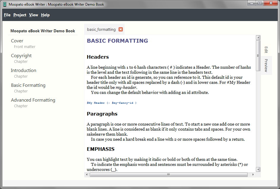 Screenshot of the Moopato eBook Writer preview of a chapter